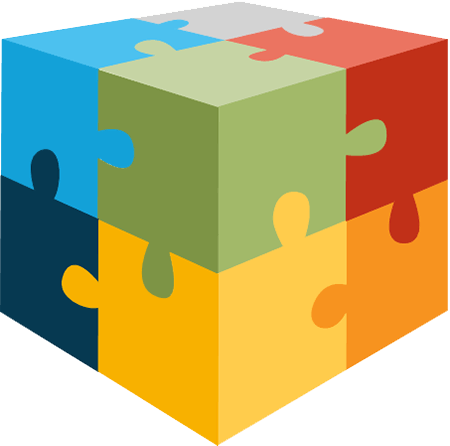 cube comprised of large colored puzzle pieces