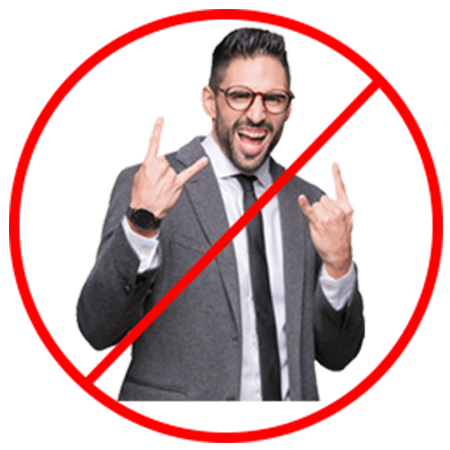 salesman showing rock on hand signals overlaid with international not symbol