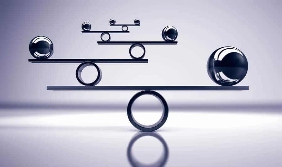 six balanced metal balls on grey background 3D illustration