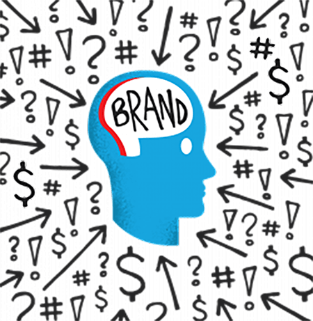 head with brand on brain surrounded by noisey symbols