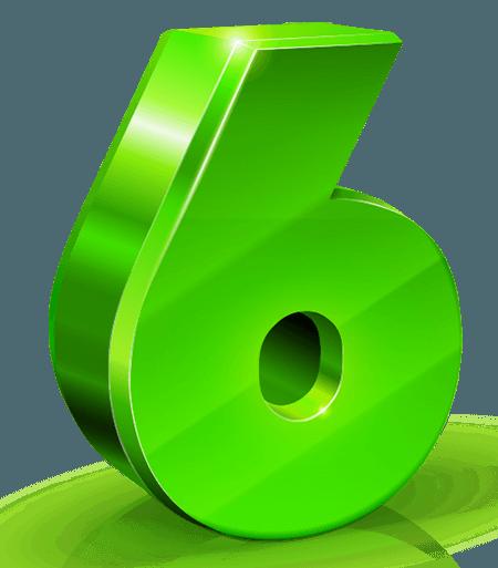large green shiney 3d six