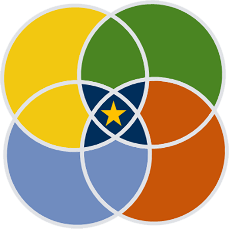 venn diagram of four colorful circles with star at central intersection